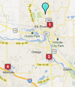 Map of Elk River, IN hotels