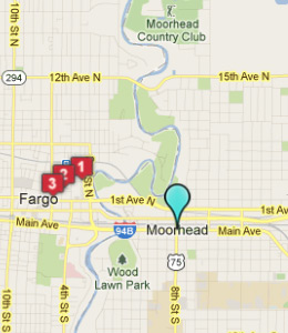 Map of Moorhead, IN hotels