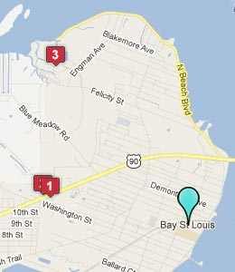 Map of Bay St Louis, MS hotels