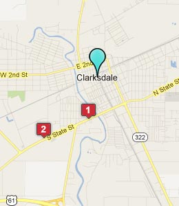 Map of Clarksdale, MS hotels