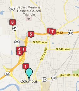 Map of Columbus, MS hotels