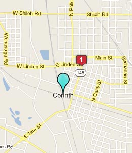 Map of Corinth, MS hotels