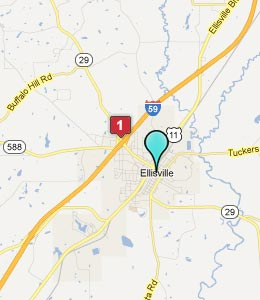 Map of Ellisville, MS hotels