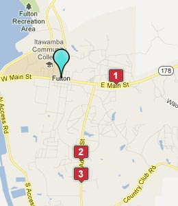 Map of Fulton, MS hotels