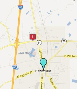 Map of Hazlehurst, MS hotels