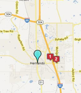Map of Hernando, MS hotels