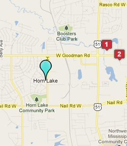 Map of Horn Lake, MS hotels