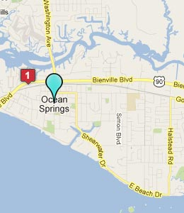 Map of Ocean Springs, MS hotels