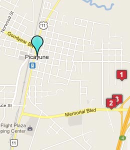 Map of Picayune, MS hotels