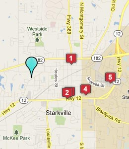 Map of Starkville, MS hotels