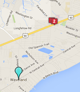 Map of Waveland, MS hotels