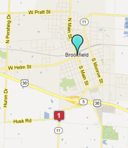 Map of Brookfield, IN hotels