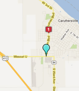 Map of Caruthersville, IN hotels