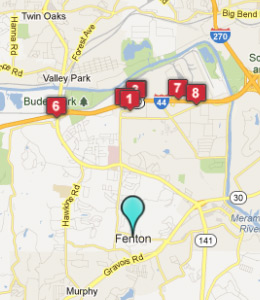 Map of Fenton, IN hotels