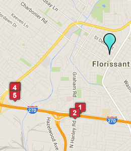 Map of Florissant, IN hotels