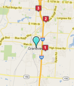 Map of Grandview, IN hotels