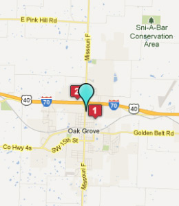 Map of Oak Grove, IN hotels