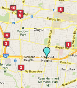 Map of Richmond Heights, IN hotels