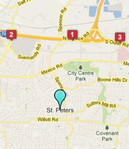 Map of Saint Peters, IN hotels