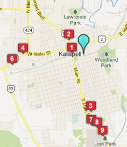 Map of Kalispell, IN hotels