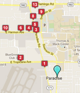 Map of Paradise, NV hotels
