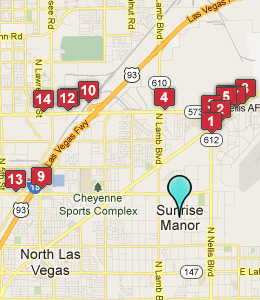 Map of Sunrise Manor, NV hotels