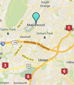 Map of Maplewood, NJ hotels