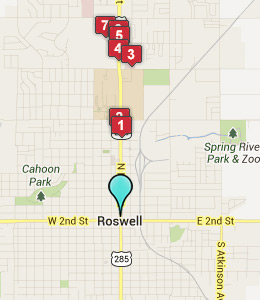Map of Roswell, NM hotels