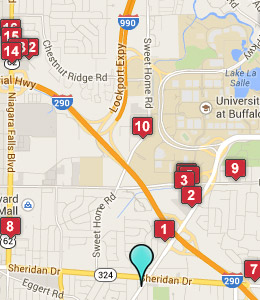 Map of Amherst, NY hotels