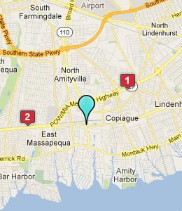 Map of Amityville, NY hotels
