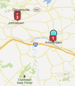 Map of Amsterdam, NY hotels