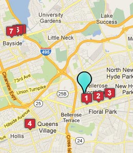 Map of Bellerose, NY hotels