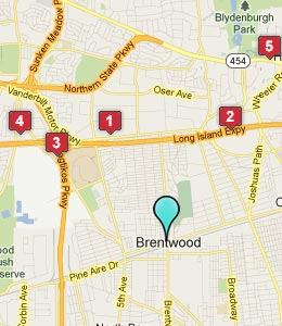 Map of Brentwood, NY hotels