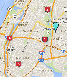 Map of Bronx, NY hotels