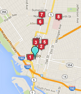 Map of Buffalo, NY hotels