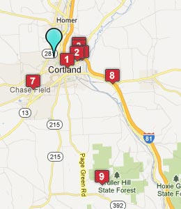 Map of Cortland, NY hotels