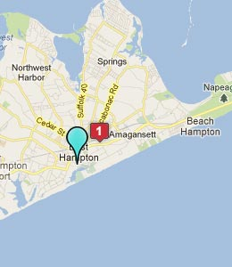 Map of East Hampton, NY hotels