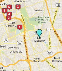 Map of East Meadow, NY hotels