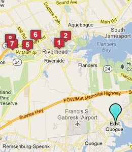 Map of East Quogue, NY hotels