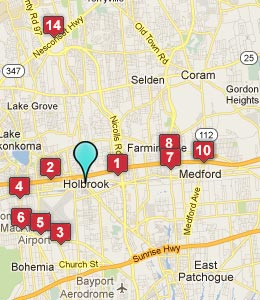 Map of Holbrook, NY hotels