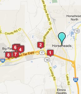 Map of Horseheads, NY hotels