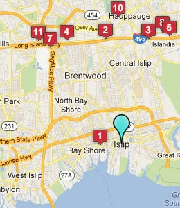 Map of Islip, NY hotels