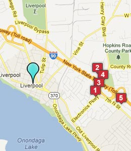 Map of Liverpool, NY hotels