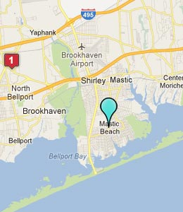 Map of Mastic Beach, NY hotels
