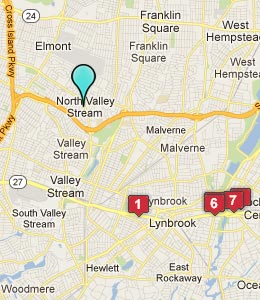 Map of N Valley Stream, NY hotels