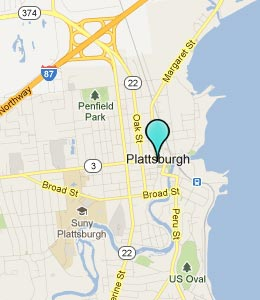 Map of Plattsburgh, NY hotels