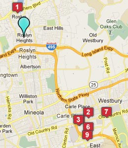 Map of Roslyn Heights, NY hotels