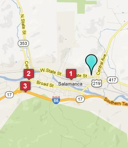 Map of Salamanca, NY hotels