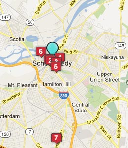 Map of Schenectady, NY hotels