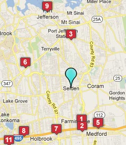 Map of Selden, NY hotels